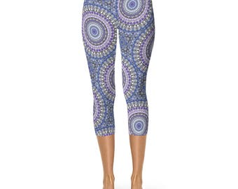 Capri Leggings, Blue and Purple Tribal Print Leggings, Festival Yoga Pants, Kaleidoscopic Patterned Leggings