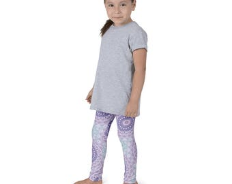 Kids Leggings, Cute Purple Leggings for Girls, Children's Printed Yoga Pants