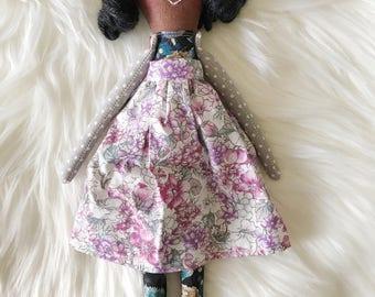 Handmade OOAK Pixie Cloth Doll, Heirloom Doll, Nursery Decor, Girl's Room Decor, Tea Party Playmate