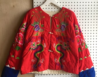 Very Rare Super Colorful Asian Chinese Dragon Phoenix Embroidery Qipao Jacket