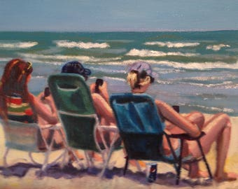 Girl Talk / Beach oil painting / Myrtle Beach S.C.