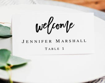 Printable name cards wedding Seating cards template Place cards instant download Wedding name tags printable Wedding table name card #vm91