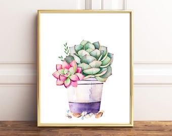Succulent Art Print, Watercolor Succulent, Succulent Print, Succulent Wall  Art, Watercolour Print