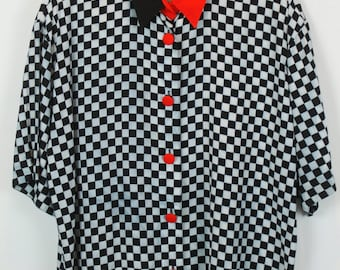 Vintage shirt, 80s clothing, shirt 80s, black and white print, short sleeves, oversized