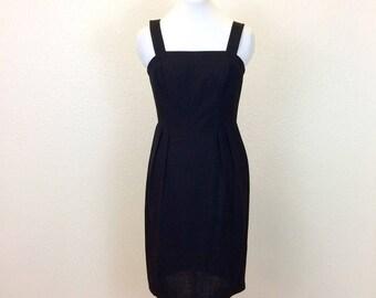 SHADY LADY  - 90s Black Linen Dress - Little Black Dress LBD - Sheath Dress - Black Summer Dress - Wide Straps - Sleeveless Black Dress - M