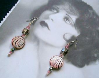 Vintage, Art deco earrings, wedding Pink mother of Pearl