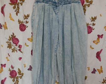 Vintage 1980s high waist acid wash harem aladdin SKA hip hop jeans Small