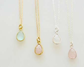 Teardrop Gemstone Pendant Necklace, Gold Bezel Pendant Necklace, Silver Bezel Pendant Necklace, Small Genuine Simple Gemstone Necklace