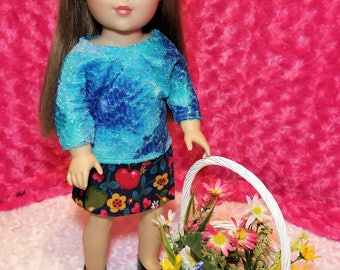Tie Dye Lace Shirt and Navy School Skirt Outfit - American Girl & Friends
