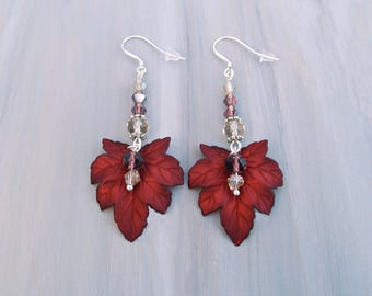 Dark Red Leaf Earrings, Autumn Dangle Earrings, Swarovski Fall Leaf Earrings, Sterling silver Autumn Jewelry, Fall Jewelry, Red jewelry