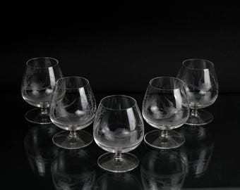 Exceptional cognac set with 5 original glasses Handmade pattern with geese Made in Germany