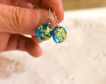 Blue and Yellow Earring; Real Flower Earring;Resin Flower Earring;Dry Flower Earrings;Yellow Flower Earring;Real Flower Earrings;Yellow Gift