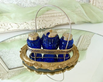 Vintage French Set of Salt, Pepper & Mustard Shakers, Cobalt Blue Glass and Metal Display Dish with Handle, Kitchen Dinner Table Décor