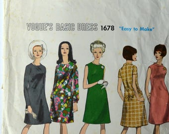1960s Vogue Vintage Sewing Pattern 1678, Size 10; One-Piece Dress