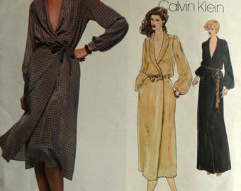 1970s Vogue Vintage Sewing Pattern 1990, Size 8; Calvin Klein Misses' Dress
