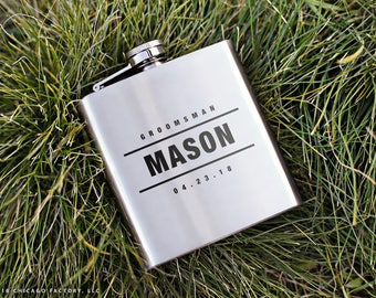 Engraved Groomsman Flask, Personalized Flask, Groom Gifts, Groomsmen Gift, Flasks for Men, Bachelor Party Gifts, Bachelor Flask (GG4066)