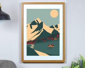 Autumn Cabin Print - A3, A4 Size - Sunset Mountains Print - America Poster - Colourful Minimal Art - Graphic Travel Home Decor
