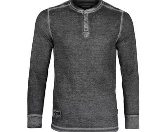 Dream Supply by ZIMEGO Men's Burnout Long Sleeve Lightweight Waffle Thermal Henley T-Shirt