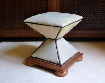 Baker Furniture Cream Leather Ottoman/Stool - Baker Classics Upholstery - Italian Ottoman