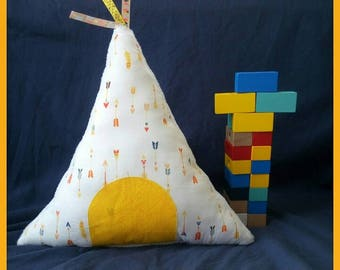 Indian tepee playful, soft and colorful. Great gift for a birthday!  Will fit perfectly in any cool kid's bedroom