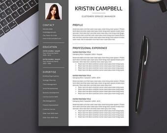 Professional Resume Template, CV Template, Cover Letter, References, Word, Creative Modern Teacher Resume, Instant Digital Download, Kristin