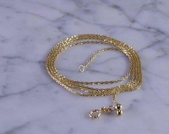 """18KT Solid Gold Neck Chain (24"""" Max-Adjustable)"""