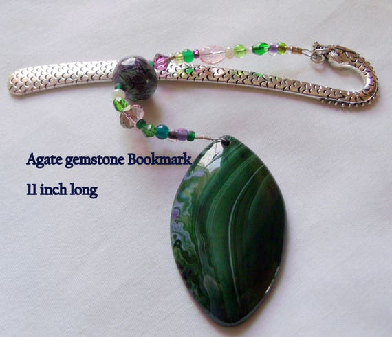 Gemstone bookmark - green agate pendant - page marker - dragon shepherds hook - honey triangle - striped pendant - reading gift - book club