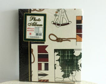 Vintage Deadstock Nautical Print Photo Album Book, New in Packaging, Still Sealed, Made in Canada