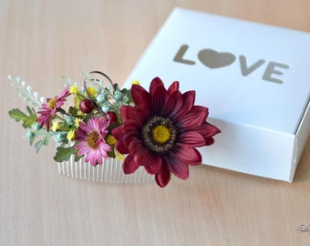 Fall wedding comb Burgundy flowers hair piece Autumn bridal comb yellow floral hair comb gerbera head piece fall hair comb