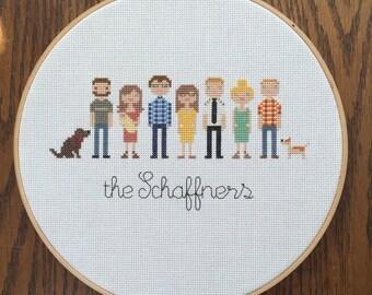 Cross stitch family portrait - custom