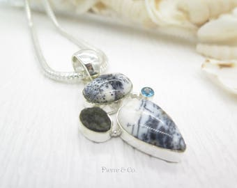 Dendritic Agate Black Drusy and Blue Topaz Sterling Silver Pendant and Chain