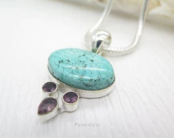 Turquoise and Amethyst Sterling Silver Pendant and Chain