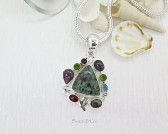 Ruby Zoisite Garnet Blue Topaz Sterling Silver Pendant and Chain