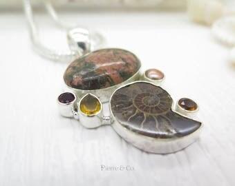 Rainforest Jasper Ammonite Fossil Citrine Pearl Garnet Sterling Silver Pendant and Chain