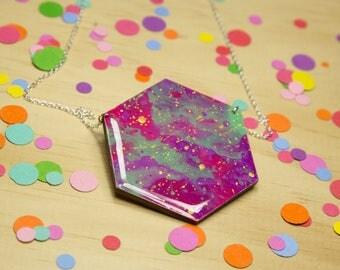 Bright Nebular Hexagon Necklace