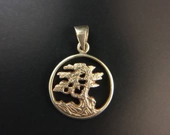 14K yellow gold cypress tree pendant