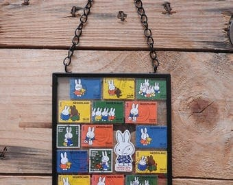 Framed Nijntje/Miffy stamp icon wall art - Dutch gift - stamped art - Netherlands gift for expat