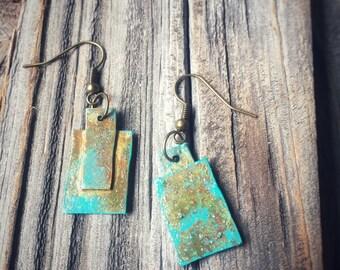 Bronze Rectangle Patina Earrings