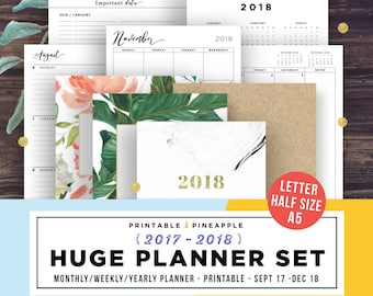 2018 Planner Printable, 2018 Agenda, Planner Inserts, Printable Planner 2017-2018, Weekly, Yearly, Half Size, A5, Letter, Monthly calendar