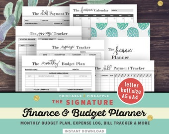 Financial Planner, Budget Planner PRINTABLE, Finance Planner, A5, Letter, Half Size Money Planning, Monthly Saving, Expense Tracker, Debt