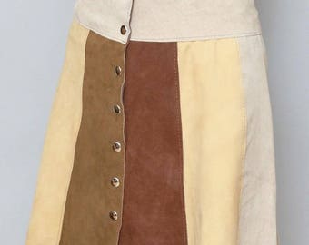 Vintage 1970's Amazing Panel Suede Mini Skirt