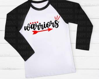 Warriors SVG, Football SVG, Football T-shirt Design, Cricut Cut Files, Silhouette Cut Files, SVG Cutting Files