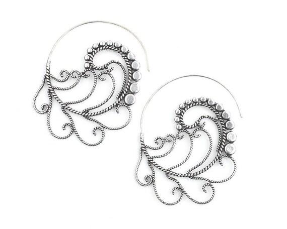 Dream Sweep Earrings, Feathers, Spiral Earrings, Boho, Bohemian, Mandala, Tribal Earrings, Festival Jewelry, Gypsy Earrings, Ethnic, Hippie