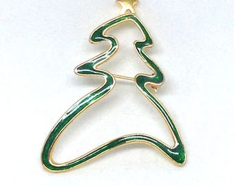 Christmas Tree with Gold Star Brooch