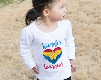Wonder Heart Warrior / CHD Warrior / Congenital Heart Defect  personalized Girl short sleeve bodysuit or Shirt / Wonder woman