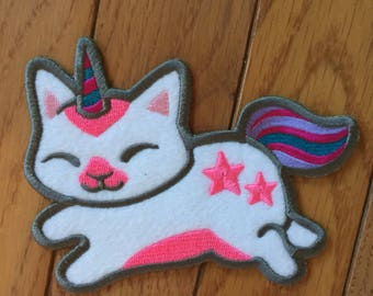 Felt UNICAT Embroidered Patch <3 Iron or Sew On