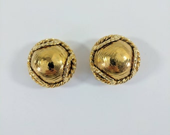 Vintage Escada Clip On Earrings//Gold//Jewelry//Statement Jewellery//Gifts For Her//Large//