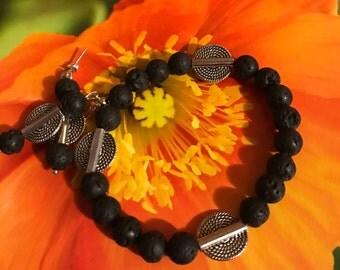 Lava Rock Bead Necklace & Earring Set