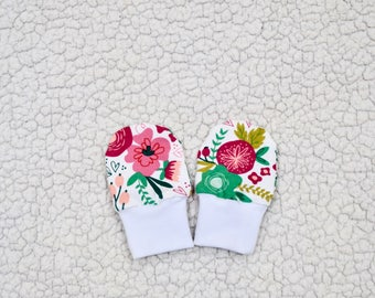 Baby Girl Mittens, Spring Flowers Mittens, Baby Gloves, No Scratch Mittens, Baby Gift