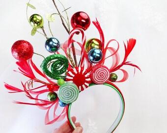 ugly sweater party, christmas headband women, whoville costume christmas headdress, holiday headband adult, ornament headband, headpiece